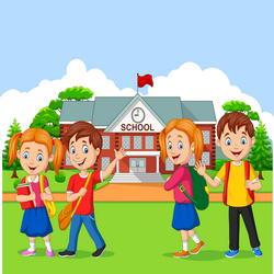 Happy school children in front of the school